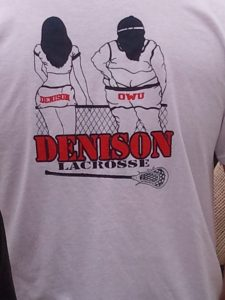 The back of a T-shirt at the Denison OWU lacrosse game is just one example of the rivalry between the two schools.
