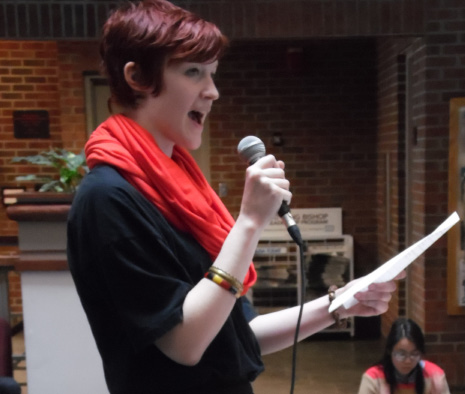 Sophomore Margot Reed reads at One Billion Rising on February 14. Photo by Spenser Hickey