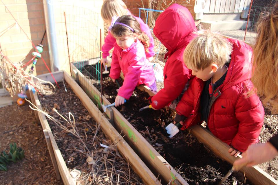 Children at the center plant in the center's garden. Photos from the Early Childhood Center