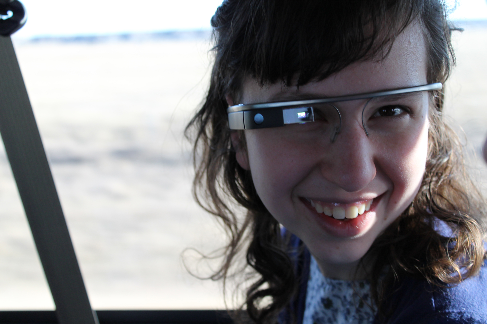 Senior Karli Amstadt models Google Glass while on a mission trip to South Dakota over spring break. Photo by Noah Manskar
