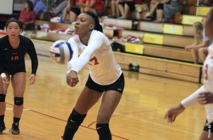 Freshman Iris Anderson bumps the ball at the Rose Hulman Invitational on Sept. 7.