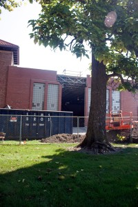 Construction continues on the Simpson-Querry Fitness Center, which will house the new dance studio. Photo: progress.owu.edu