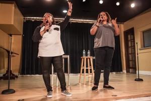 Frances Callier and Angela V. Shelton perform as Frangela in the Milligan Hub.