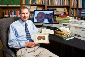 Ryan Stokes with fragments of the Dead Sea Scrolls. Photo courtesy of Ryan Stokes.