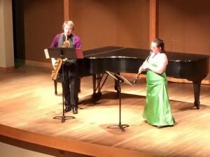 Senior Arie Leffel and junior ZoAnn Schutte perform in the Jemison Auditorium. Photo courtesy of Meg Linebaugh via Facebook.