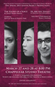 Flyer promoting the joint production featuring (left to right) seniors Kristen Krak, Haenny Park and Ryan Haddad.
