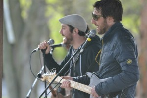 Two members of The Floorwalkers play an original song in the gazebo. Photo courtesy of Spenser Hickey.