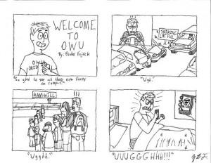 Life as an incoming freshman. Cartoon by Blake Fajack '16.