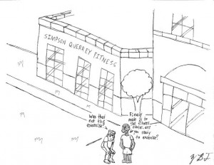 Simpson Querrey Fitness Center. Cartoon by Blake Fajack.