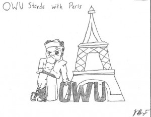OWU Stands With Paris by Blake Fajack '16.