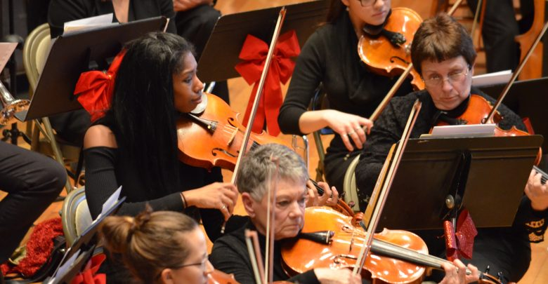 The violin section of the symphony