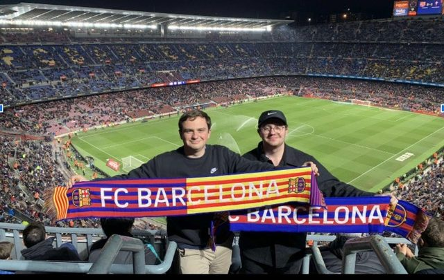 Junior Billy Lewis attends an FC Barcelona game with former high school classmate Will Capuder during his semester studying abroad in Ireland. Photo provided by Billy Lewis.