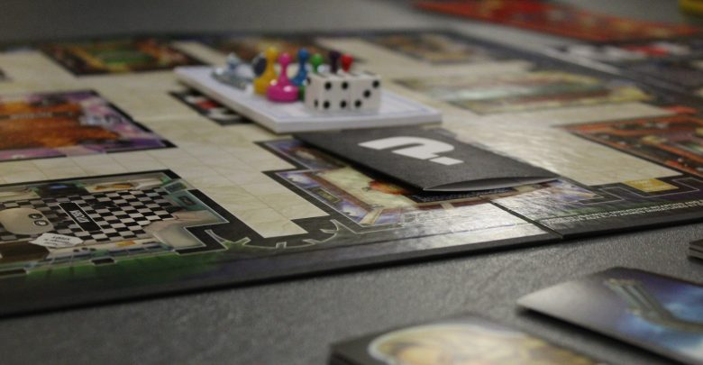 Boardgames lay out across the various tables in Stuyvesant Hall's lobby during Game Night.