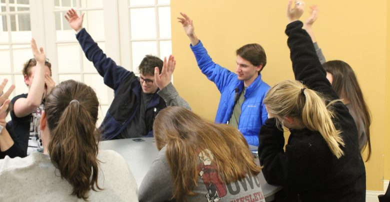 OWU students participate in a game of Werewolf at Game Night in Stuyvesant Hall.
