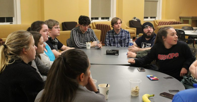 From left to right, OWU students Ariana Pantoja-Hyc, Madison Williams, Lauren Mangold, Kaitie Welch, Parker Siegfried, Stephen Kostman, Ryder Beckman, Cade Campanale, Stephen Gagne, and Madeline Rea play a game of Werewolf.
